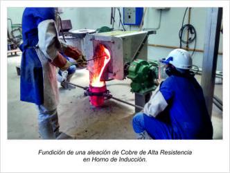 Fundición de una aleación de Cobre de Alta Resistencia en Horno de Inducción.